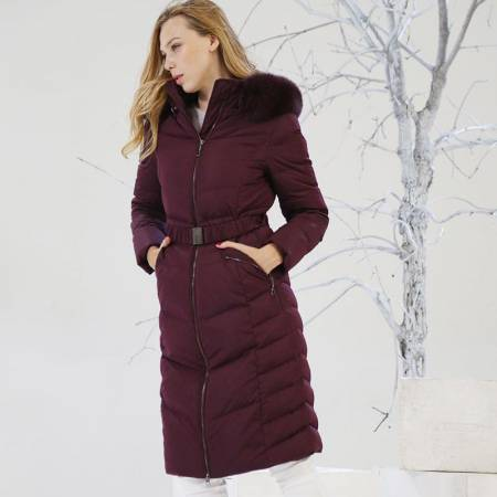 索欧特长款修身羽绒服·绛紫色