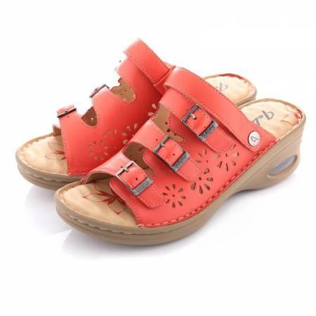Jellyko牛皮气垫女款凉鞋·珠光红