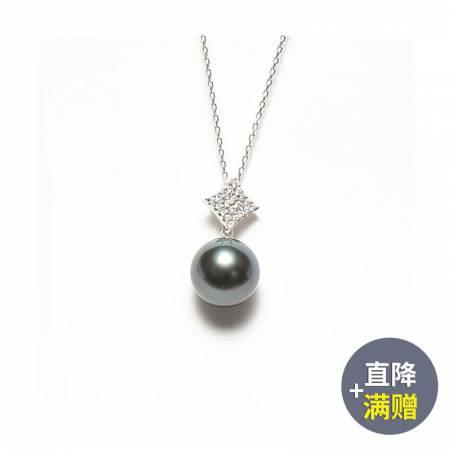 Vermeer 18K金+钻石大溪地海水珍珠吊坠菱形12-13mm·黑色
