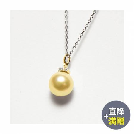 Vermeer 18K金+钻石深金南洋海水珍珠吊坠皇冠形10-11mm