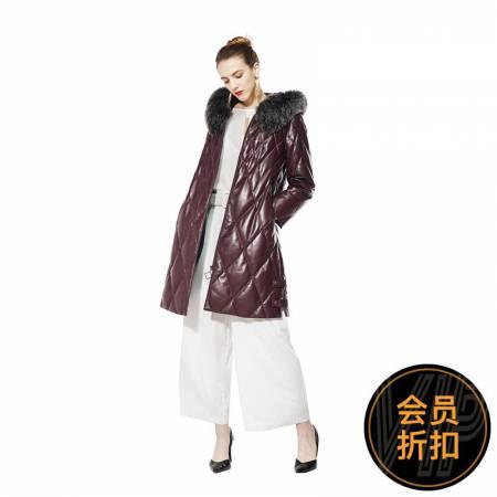今昇贵族狐狸毛绵羊皮鹅绒服·紫色