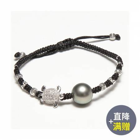 Vermeer S925银大溪地珍珠配小海龟手编绳手链10-11mm·黑色