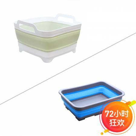 折叠沥水篮+折叠盆2件套厨房家用多功能创意易收纳水槽水盆·白绿