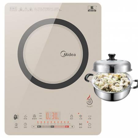 Midea美的电磁炉QH2130  进口NEG面板恒匀火赠不锈钢蒸锅