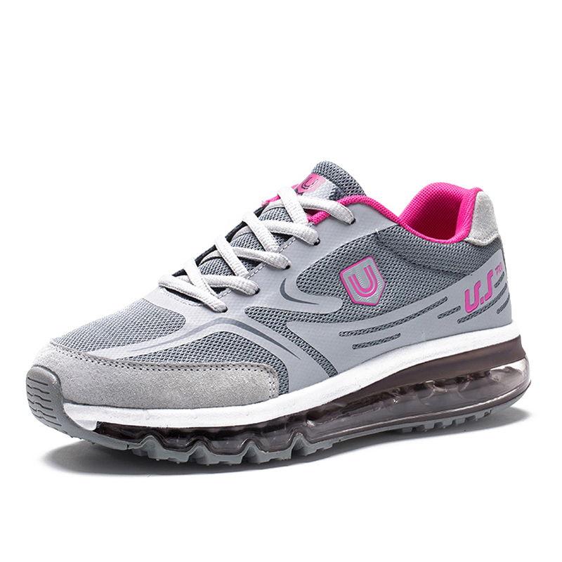 美国品牌U.SHOE全脚掌飞织气垫鞋减震透气轻盈户外休闲运动鞋春秋保暖男女鞋·粉
