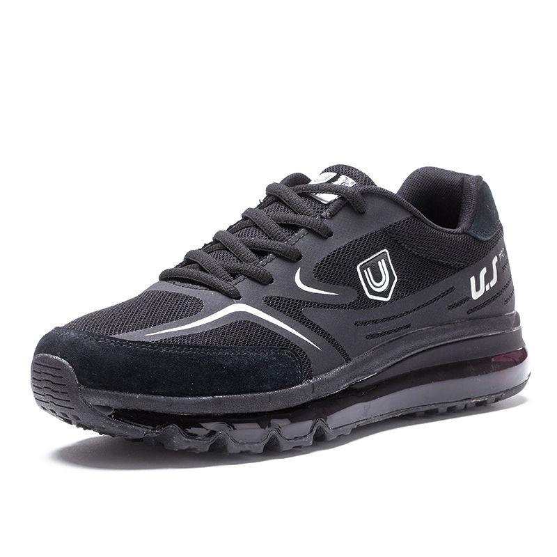 美国品牌U.SHOE全脚掌飞织气垫鞋减震透气轻盈户外休闲运动鞋春秋保暖男女鞋·黑色