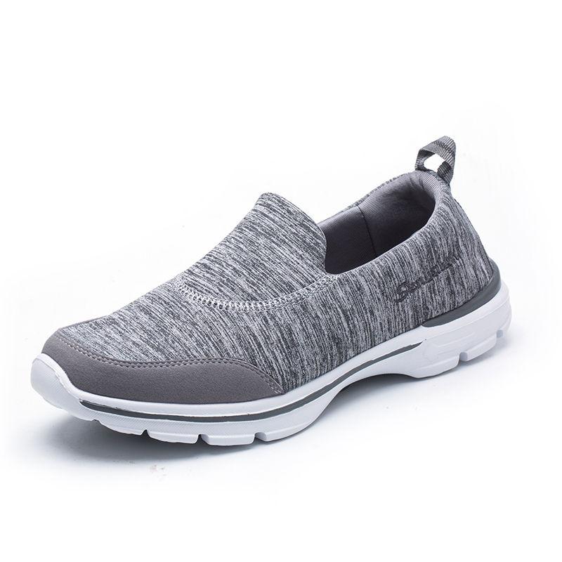森巴伦超轻回弹健步休闲运动鞋中老年防滑透气减震一脚蹬男女鞋·灰色