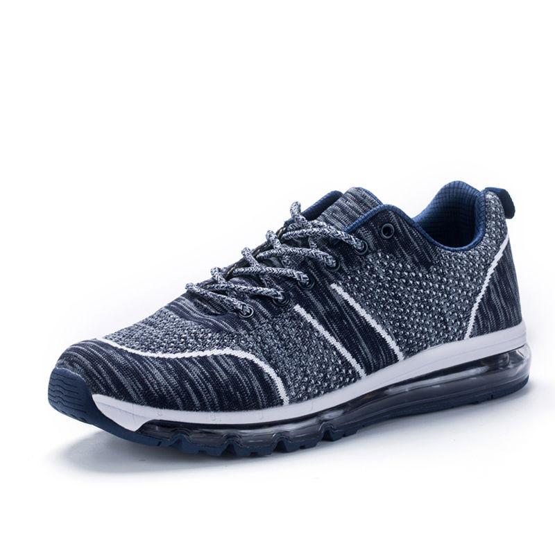 运动休闲情侣慢跑鞋飞织网布轻便减震透气运动跑鞋·EK17QM07014-蓝色