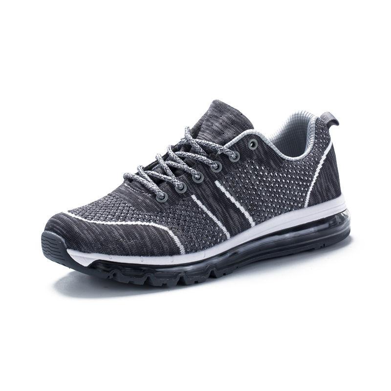 运动休闲情侣慢跑鞋飞织网布轻便减震透气运动跑鞋·EK17QM07014-灰色