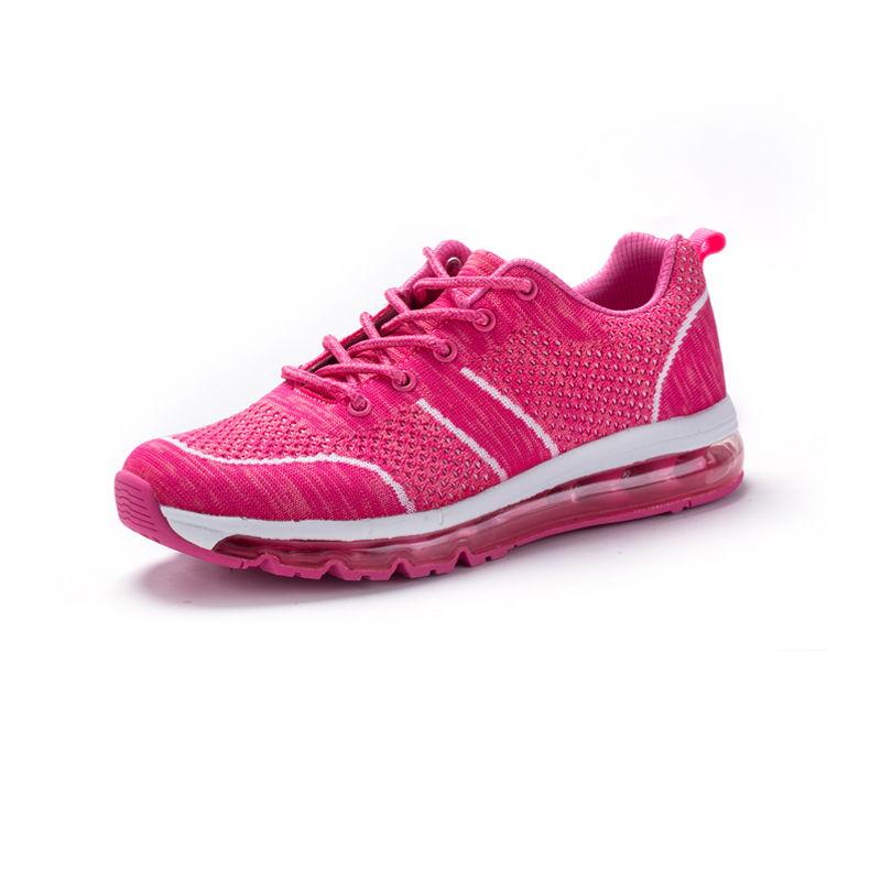 运动休闲情侣慢跑鞋飞织网布轻便减震透气运动跑鞋·EK17QM07014-1-玫红