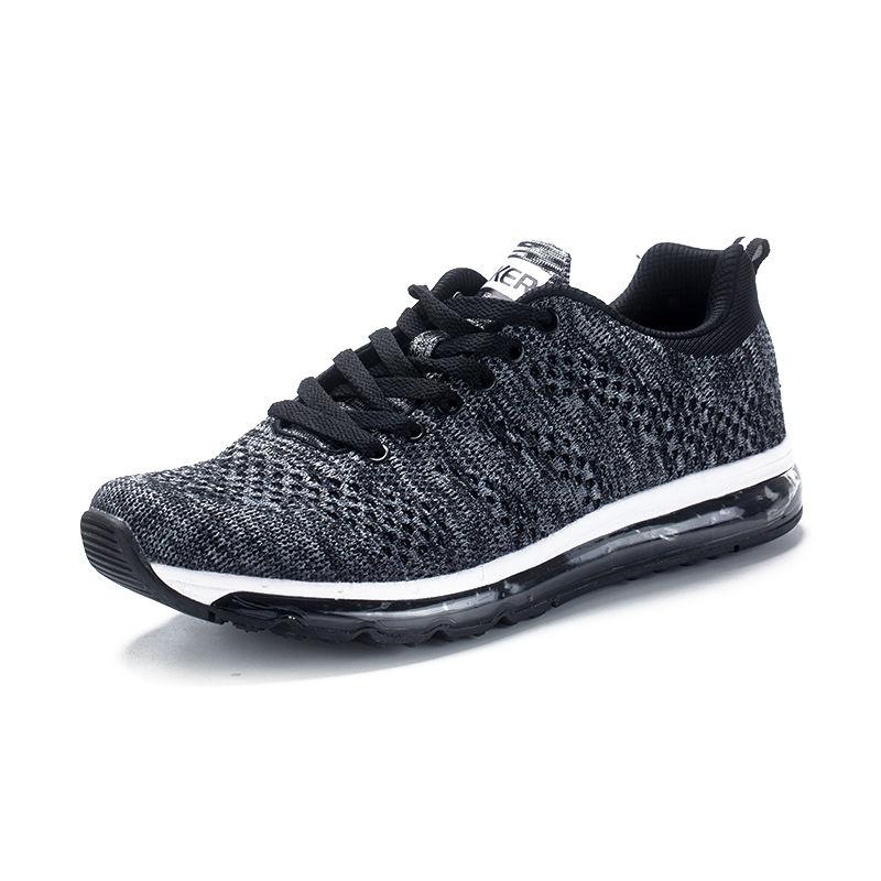 气垫运动男鞋休闲慢跑飞织网布轻便减震透气防滑跑鞋·121611210016-黑色