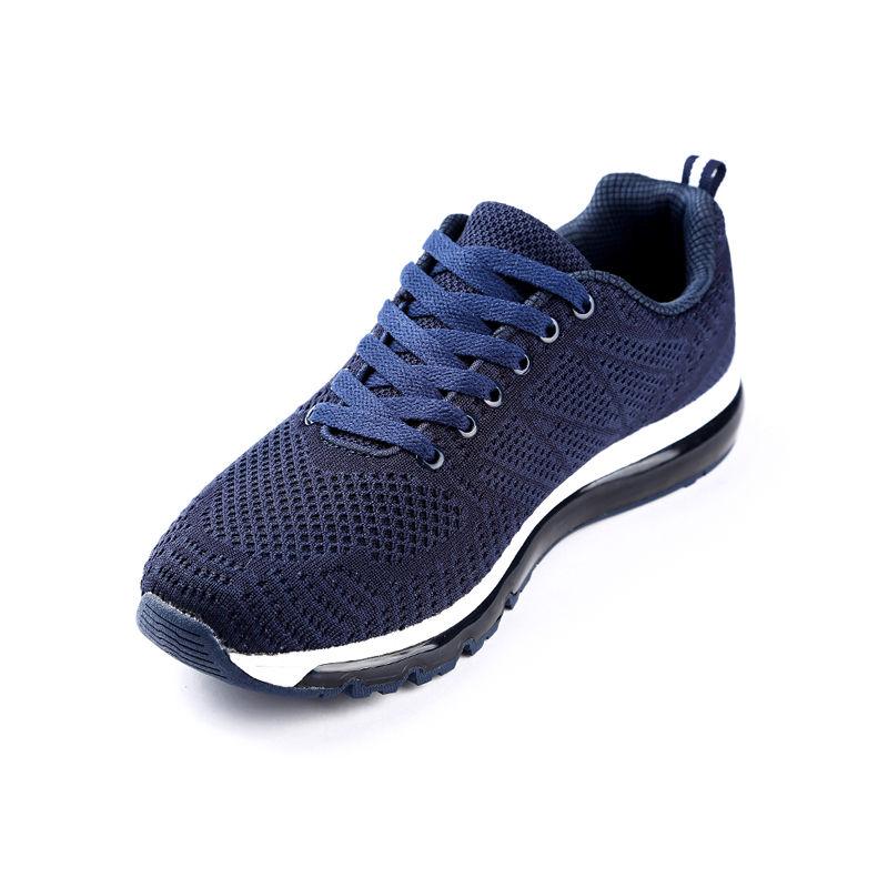 气垫运动男鞋休闲慢跑飞织网布轻便减震透气防滑跑鞋·121612210031-蓝色