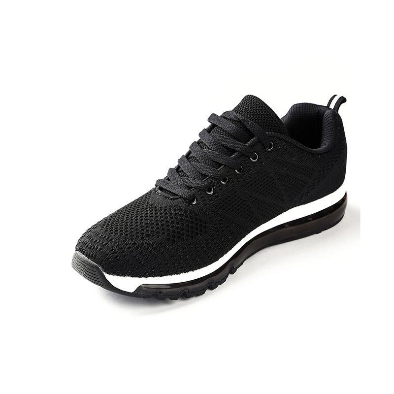 气垫运动男鞋休闲慢跑飞织网布轻便减震透气防滑跑鞋·121612210031-黑色