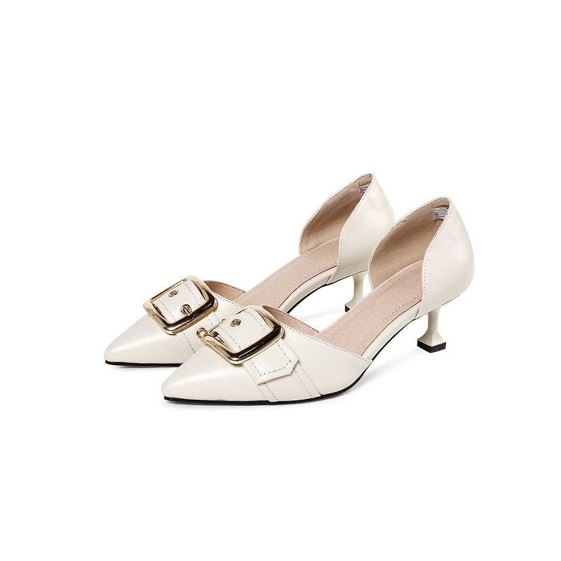 奈绮儿尖头浅口细跟皮带扣中空单鞋女鞋·米白色