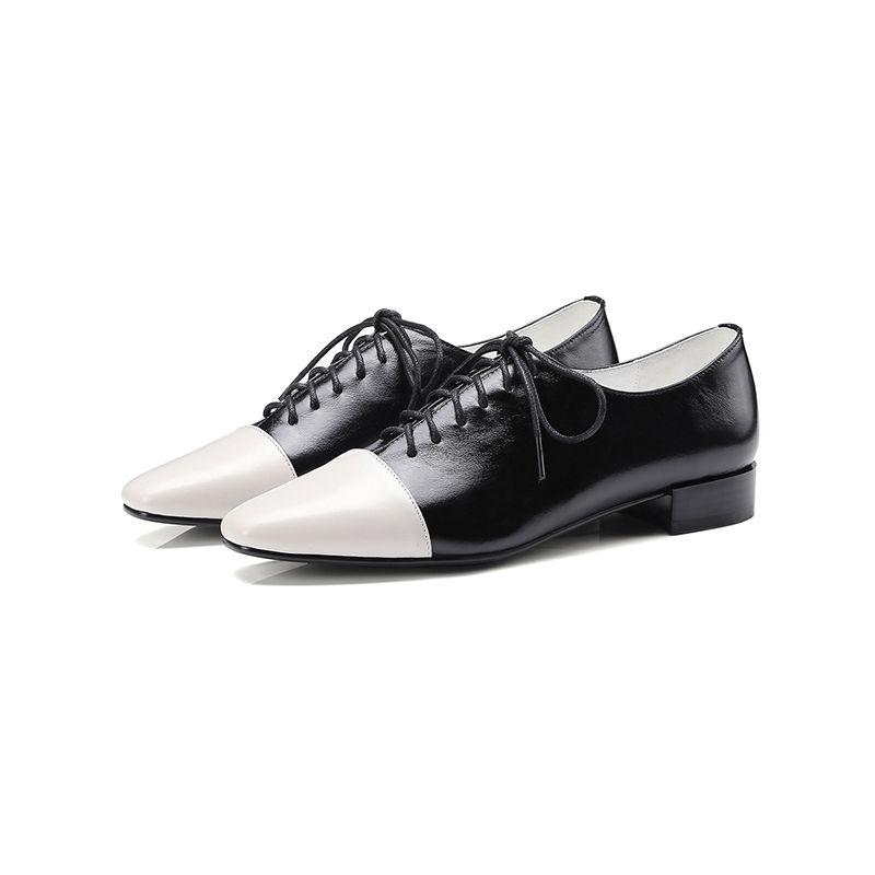 奈绮儿 方头粗跟深口系带单鞋休闲复古拼色女鞋·黑色