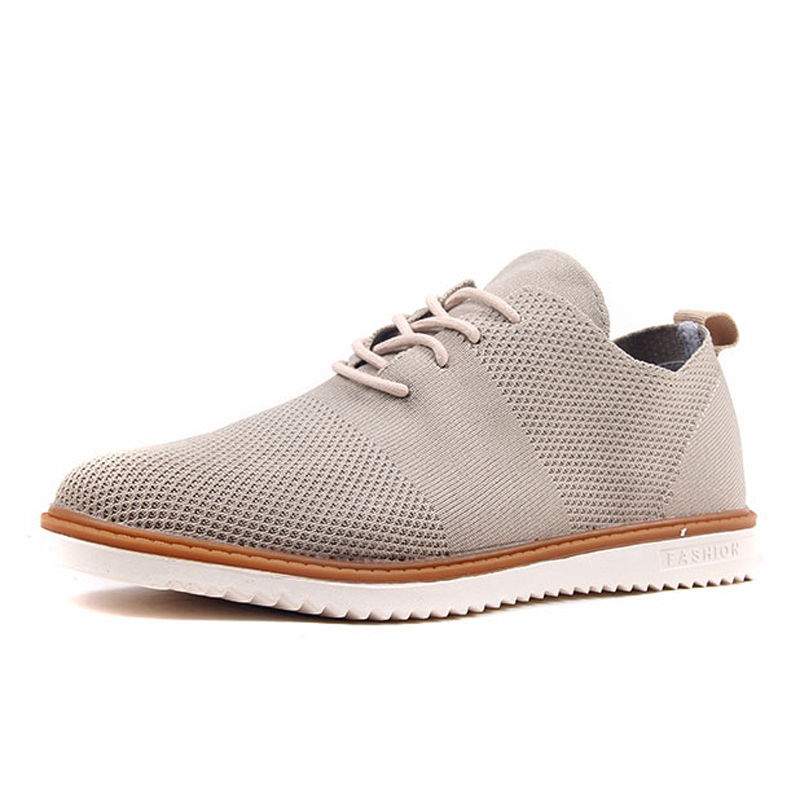 新款男鞋运动休闲透气飞织商务鞋平板针织鞋4024·卡其