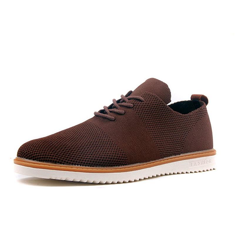 新款男鞋运动休闲透气飞织商务鞋平板针织鞋4024·骆绒