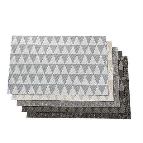 奇居良品 现代款PVC餐垫 几何浅灰6片装