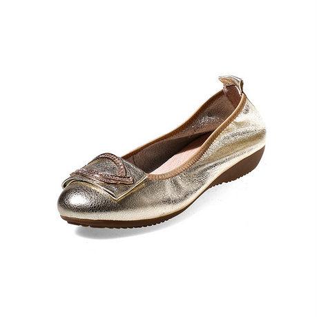 贝奴诗新品韩版休闲鞋圆头水钻单鞋坡跟中跟真皮低帮女鞋