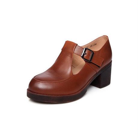 贝奴诗新款复古牛皮深口圆头中跟女鞋粗跟防水台真皮单鞋女棕色