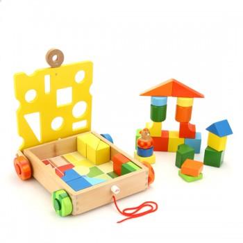 sevi1831儿童木制积木 积木车