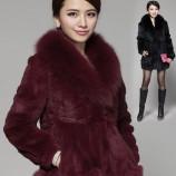 【海宁皮草】蒙洛迪狐狸领兔绒皮草大衣 黑色