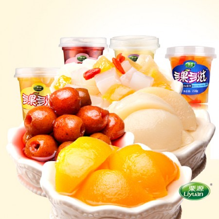 [栗源]4种口味美味组合水果罐头238*12杯 4种口味各3杯