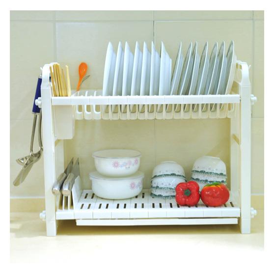 [宝优妮]餐具收纳沥水架两层 白色