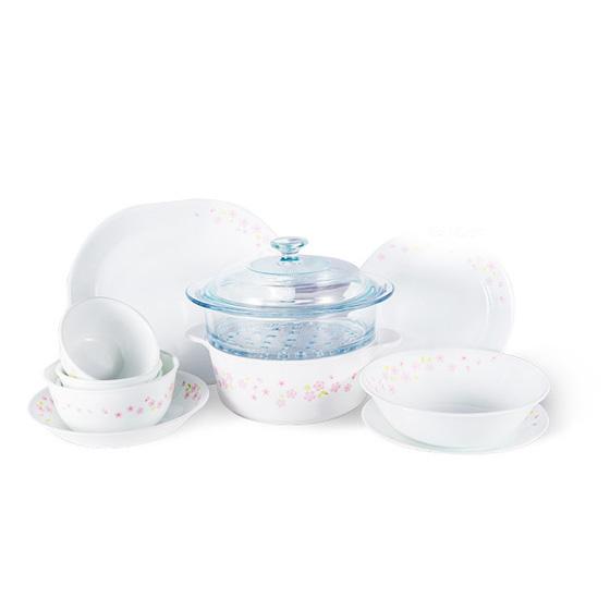 [康宁CORELLE]樱花系列餐具12件套+2.2L康宁锅蒸格套装