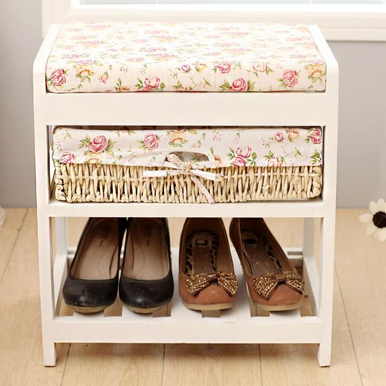[家逸]换鞋凳置物架 白色