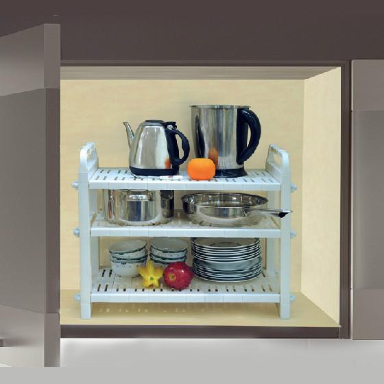 [宝优妮]厨房锅架碗碟多用途置物架 白色