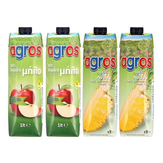 希腊进口莱果仕100%菠萝汁苹果汁4瓶