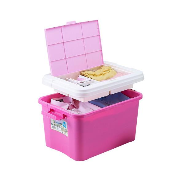 茶花创意翻盖隔层整理箱 红色