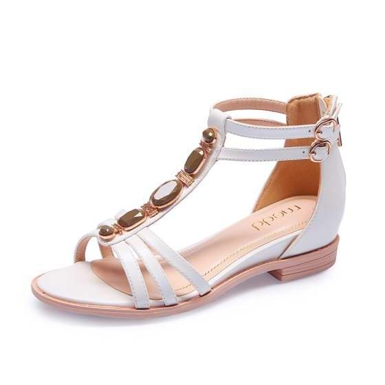 名典金属装饰罗马凉鞋555382 白色