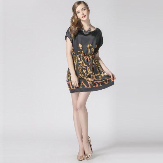 图片首页 服饰 女装 裙子 > 霓贝真丝欧式古典印花连衣裙 黑色     用