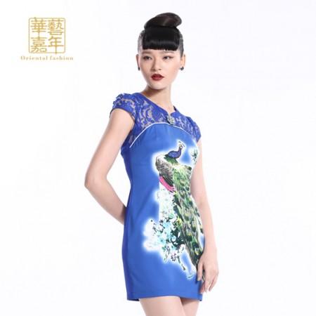 华艺嘉年 诗意繁华短袖旗袍裙5222332527