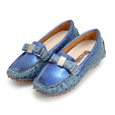 诺曼地 鸵鸟纹豆豆美姿鞋·宝蓝色