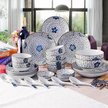 Remec34件套蓝心语手绘釉下彩环保餐具