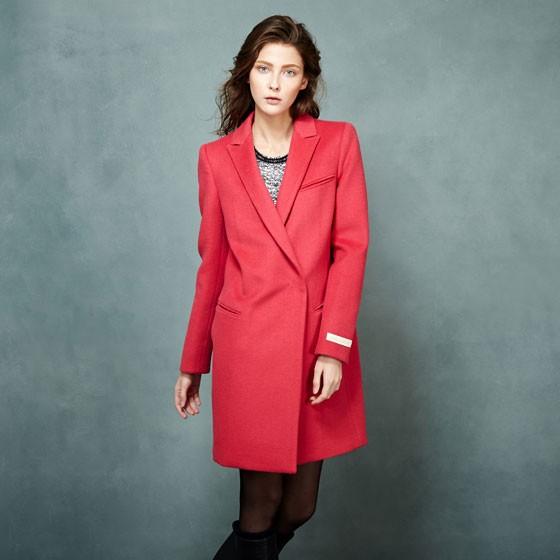 SOWOOL韩版羊绒大衣·桃红色