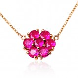 伊卡珠宝 六合一玫瑰情缘18K金镶嵌红宝石项链