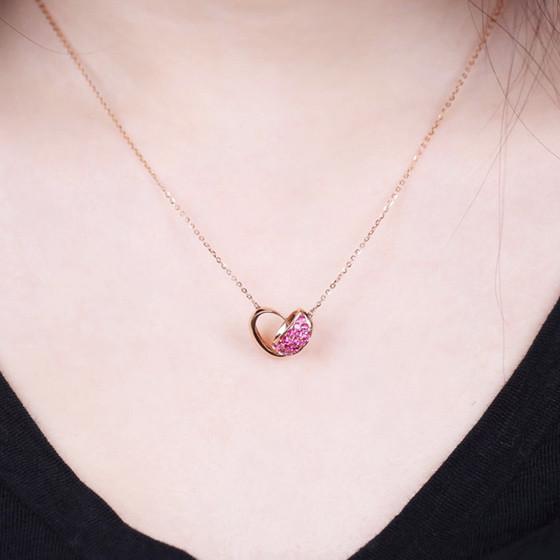 伊卡珠宝 时尚双环红宝石项链