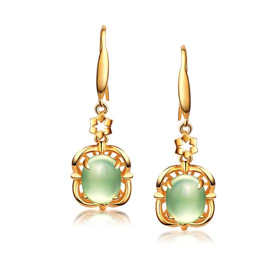 伊卡珠宝 925银镶葡萄石耳环