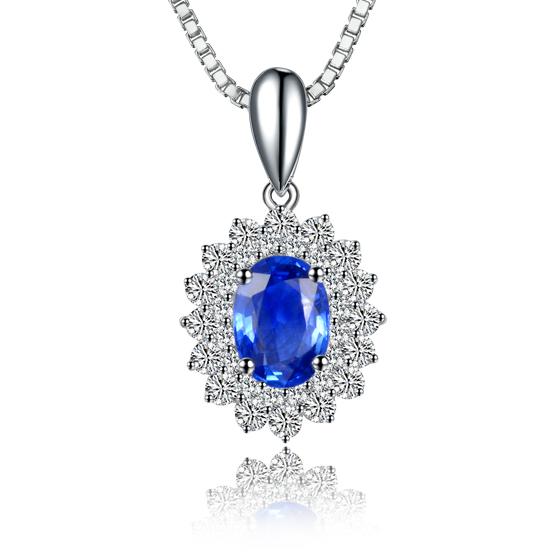 伊卡珠宝 1克拉蓝宝石吊坠