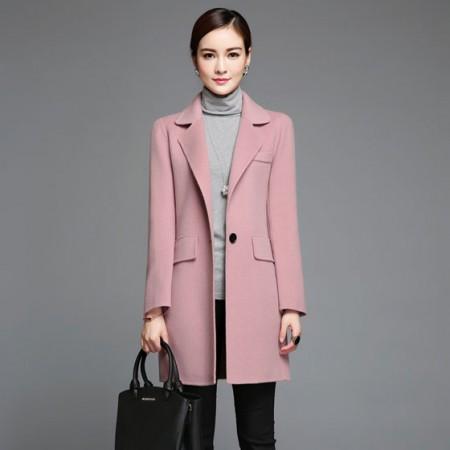 NAINA&CO新款高端双面羊毛中款西服大衣藕粉 95%羊毛 手感舒适 不易变形