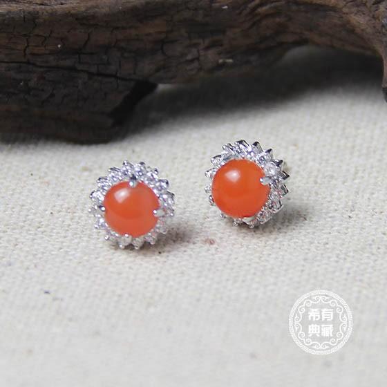 希有南红玛瑙全家福珠宝套组 红色