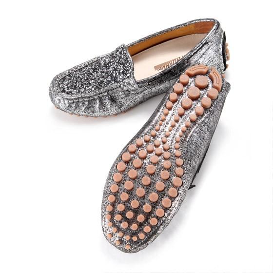 诺曼地 璀璨星空豆豆手工鞋·银黑色