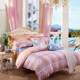 富安娜馨而乐 锦瑟悠扬-1.5米床纯棉床品四件套 橙色