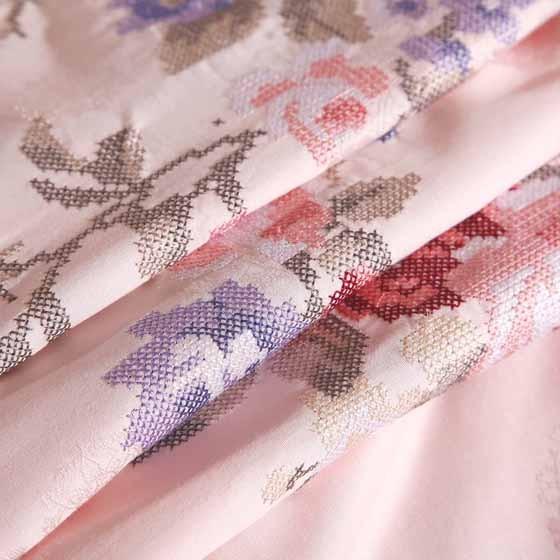 富安娜馨而乐 真爱恒久十字绣 蕾丝花边 纯棉四件套