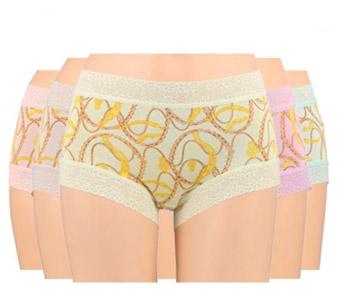 [阙兰绢]锁链风100%蚕丝内裤组(5色5条 再送塑身裤3条)