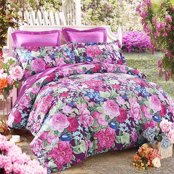 罗莱出品-LOVO 花园静语60支全棉贡缎床品·6件套